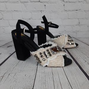 Eloqii Chunky black Heeled Blingy Shoes